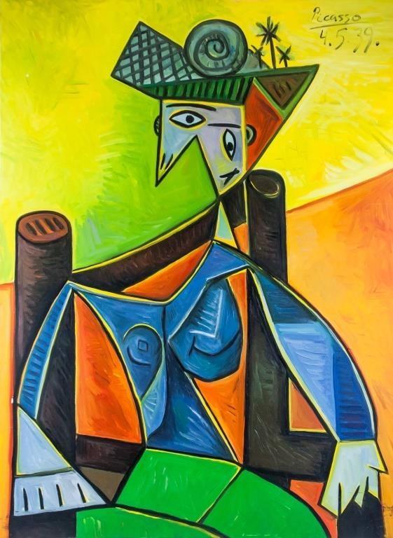 Oil on canvas. Featuring a cubist portrait.